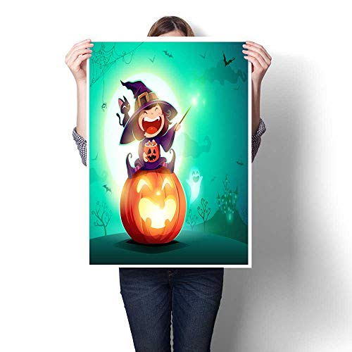 smllmoonDecor Wall hangings Halloween Little Witch Girl Kid in Halloween Costume Sits on a Giant Pumpkin Magic Wand and Candies on Hand Decorative Fine Art Canvas Print Poster K 20