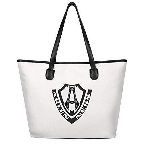 (Women Arlen-Ness-Motorcycle-Logo- Canvas Handbags Large Capacity Bag Foldable Shopper Handbag Creamy-White)