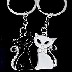 Llaveros creativos Llavero de 1 par Pareja creativa Gato blanco y negro Llaveros de metal de Huyizhi: Amazon.es: Coche y moto