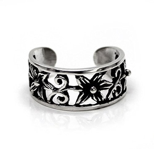 Sterling Silver Flower and Swirl Band Adjustable Toe Ring (Toe Silver Ring Swirl Sterling)