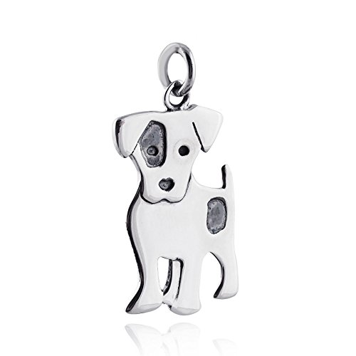 Jack Russell Terrier Dog Pendant - 925 Sterling Silver - Charm Pet Love Gift Jewelry Making Supply, Pendant, Charms, Bracelet, DIY Crafting by Wholesale (Jack Russell Terrier Charm)