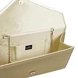 BMC Womens Pale Khaki PU Leather Alligator Skin Pattern Perforated Glitter Metal Accent Envelope Flap Clutch Handbag