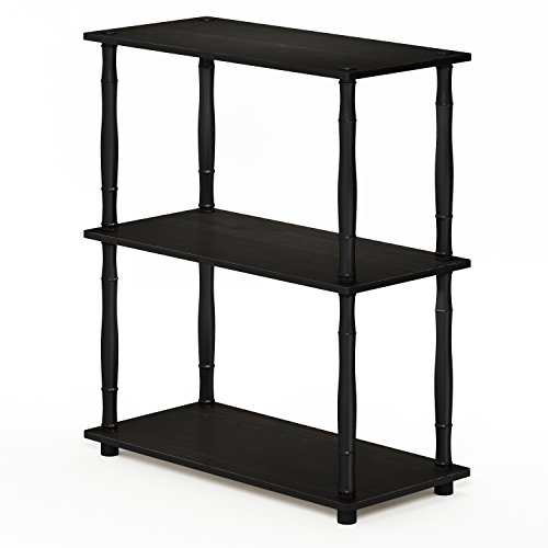 Furinno 18029EX/BK Turn-N-Tube Compact Shelving Rack, 3-Tier, Espresso/Black Classic Tube by Furinno