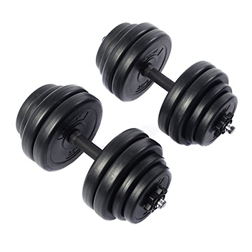 Giantex Weight Dumbbell Set 66 LB Adjustable Cap Home Gym Fitness Training Barbell Plates Hollow Metal Rod Deluxe Portable Gymenist Dumbbells Rack for Men Women,