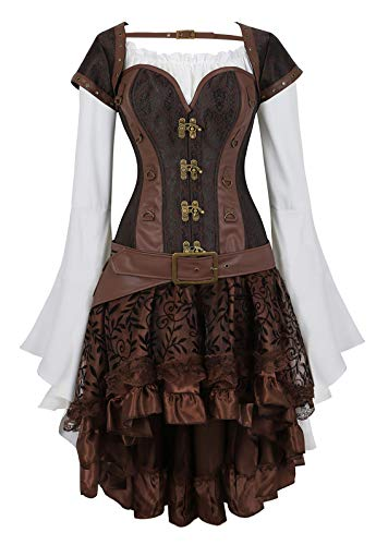 Zhitunemi Women Steampunk Corset Dress Medieval Peasant Chemise Costume Victorian Saloon Girl Dresses Brown Small]()