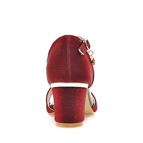 AllhqFashion Mujeres Sólido Tacón ancho Hebilla Puntera Abierta Sandalias de vestir con Metal Rojo