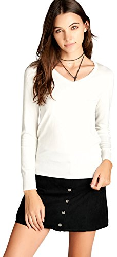 (ToBeInStyle Women's Classic L.S. V-Neck Pullover Sweater - White - Large)