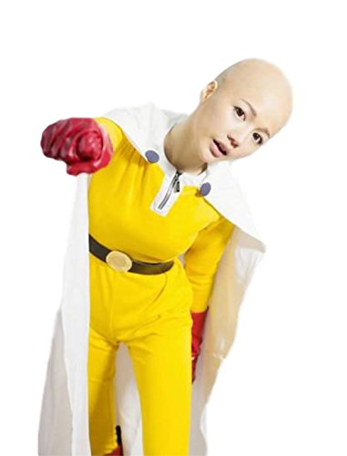 Asian Superman Anime One Punch Man Saitama Cosplay Costume Full Sets (L(160-165cm) 5'3, (Asian Costumes Male)
