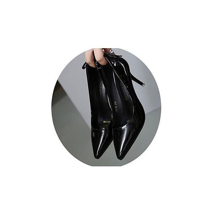 Lvyuan-ggx Da Donna Tacchi Con Cinghia Pu poliuretano Primavera Casual Bianco Nero 5-7 Cm Black Us7 5 Eu38 Uk5 5 Cn38