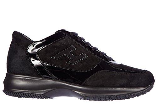 Hogan scarpe sneakers donna camoscio nuove interactive h flock nero
