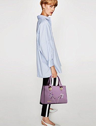 NICOLE&DORIS Retro Mujer Top Handle Bolsas Bolsos Bolsa de hombro Bolsa Crossbody PU Cuero Blanco Púrpura