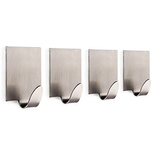 LingStar 3M Self Adhesive Bathroom Hooks Coat Robe Rack Kitchen Hooks for Utensils Towels Wall Mount, Brushed Stainless Steel - 4 Pack