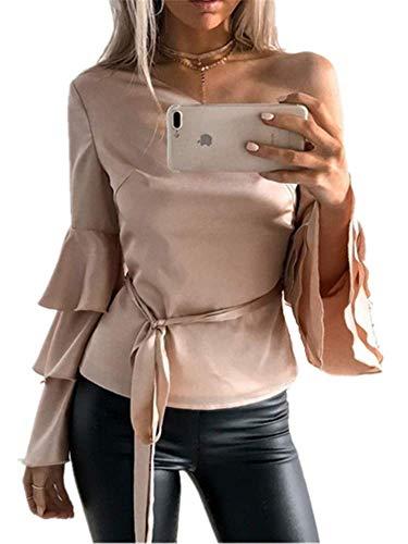 Tunique YOGLY Evass Rose Longues Casual Unie T Nue Sexy Manches Couleur Femme Shirt Fluide Tops Blouse Chic Epaule Bandege rR1rnqxZYw