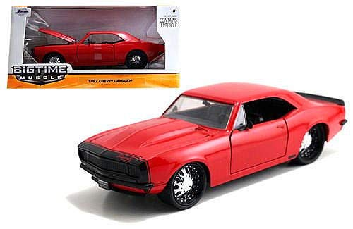 New 1:24 W/B BIG TIME MUSCLE - RED 1967 CHEVROLET CAMARO Diecast Model Car By Jada Toys