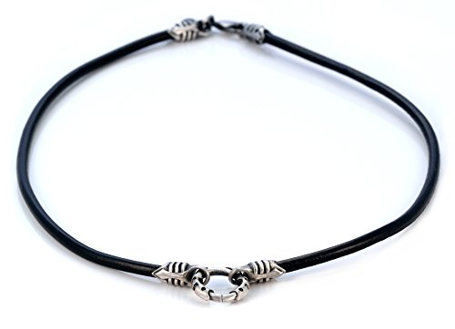 (Bico 4mm (0.16 inch) Black Leather Necklace 20 inch Long with a Silver Loop and Ends (CL1 Black 20in))