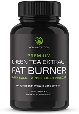 Nobi Nutrition Green Tea Fat Burner - Green Tea Extract Supplement with EGCG - Diet Pills, Appetite Suppressant, Metabolism & Thermogenesis Booster - Healthy Weight Loss for Women & Men (120 Capsules)