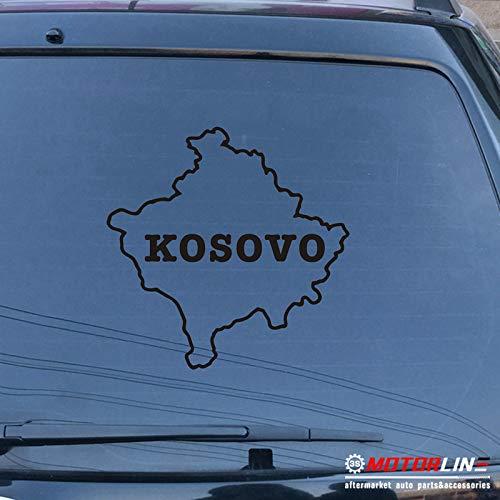 - 3S MOTORLINE Kosovo Map Lettering Decal Sticker Car Vinyl Pick Size Color no bkgrd die Cut (Black, 4'' (10.2cm))
