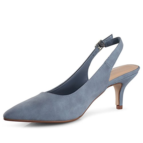 LUSTHAVE Women's Betty Kitten Heel Sling Back Closed Pointy Almond Medium Heel Pumps Shoes Blue 7.5 by LUSTHAVE (Image #3)