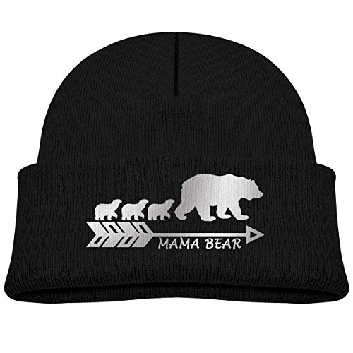 Kids Knitted Beanies Hat Silver Mama Bear Winter
