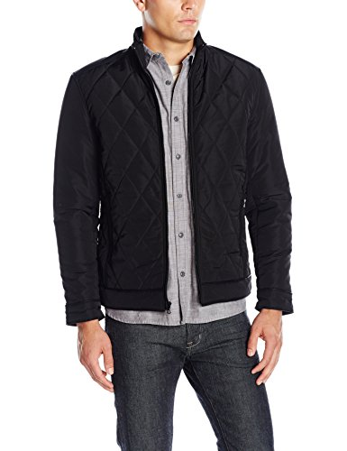 - Emanuel by Emanuel Ungaro Men's Urban Tech Diamond Quilted Jacket, Black, Large