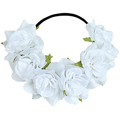 Rose Flower Headdress Garland Hair Band Girls Wedding Party Headband Gress up (Color - White)