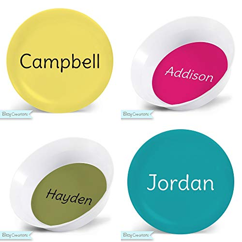 Personalized Plate for Kids - Perfectly Plain Child's Plate - You Choose Color - Plastic - Plate Bowl Mug Placemat - Tableware Set