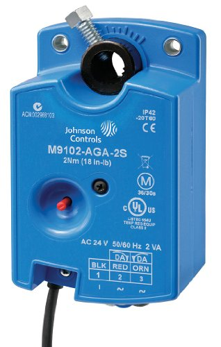 """Johnson Controls M9104-AGA-2S Series M9104 Electric Non-Spring-Return Actuator, Floating Control, 4 Nm Torque, 48"""" UL 444 Type CMP Plenum Rated Cable with 19 AWG Conductors and 1/4"""" Ferrule Ends"""