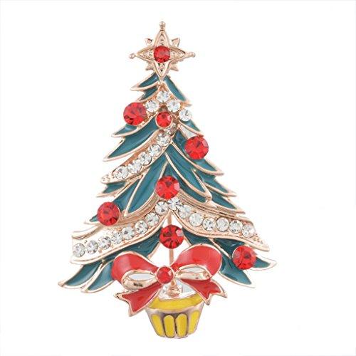 MJARTORIA Multicolor Enamel Christmas Tree Rhinestone Brooch Wedding Bridal Bouquet Pin Jewelry Xmas Deco