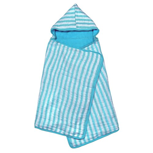 - green sprouts Muslin Hooded Towel made from Organic Cotton | The perfect towel for bath, beach, or pool | Organic cotton muslin & knitted terry, Hand pockets help toddler dry independently