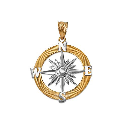 LA BLINGZ 14K Two-Tone Yellow Gold Compass Pendant