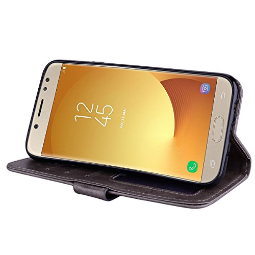 Funda Samsung Galaxy J5 2017 (j530),ZHXMALL Samsung Galaxy J5 2017 (j530) Carcasa Libro de Cuero Impresión PU Premium Unicornio Bling Glitter Patrón Con TPU Silicona Case Interna Suave,Soporte Plegabl Gris