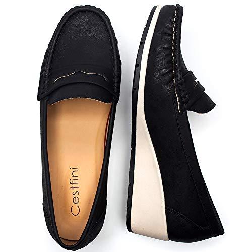 Camminare Loafers Comode per Pelle Donna Scarpe Platform Scelta Scarpe Flat per con Tutte Stagioni Mocassini Zeppa la Donna Migliore Black4 Le per Nero Cestfini 6qnxO6