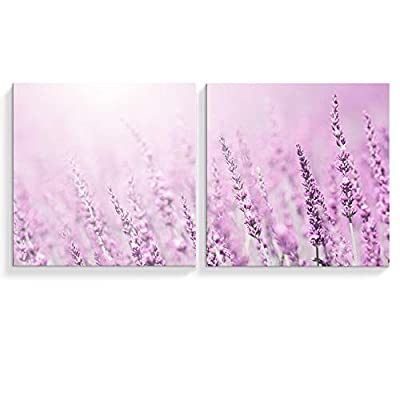 2 Panel Canvas Wall Art Romantic Purple Lavender Canvas Painting Wall Decor for Living Room Framed Home Decorations -