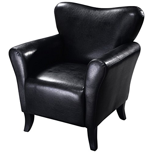 Black Soft black sleek leather Leisure Chair Concave Deep Seat