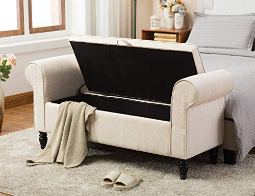 Upholstered Storage Bench for Bedroom Living Room Entryway Ottoman Bed Bench Settee Ivory