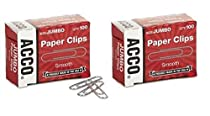ACCO Paper Clips, Economy, Smooth, Jumbo, 200 Paper Clips (72580)