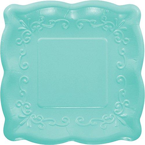 Elise 325937 Scalloped Embossed Small/Dessert Square Premium Paper Plates, - Wedding Cake Plate Embossed