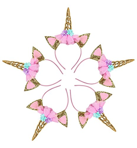 Unicorn Headband – Gold Glitter Horn - Vibrant Colors - Unicorn Party Supplies Perfect for Party Decorations, Birthday, Christmas, Farewell, Halloween – Unicorn Headband Set of 5