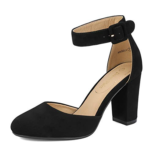 DREAM PAIRS Women's High Heel Closed Toe Chunky Wedding Pumps Shoes