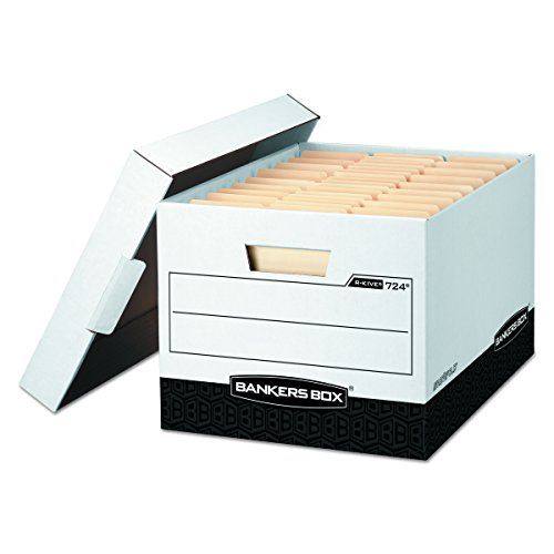 Fellowes Banker Boxes - Bankers Box 00724 R-KIVE Max Storage Box, Legal/Letter, Locking Lid, White/Black (Case of 12)