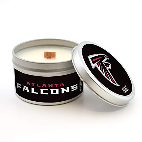 Worthy Promotional NFL Atlanta Falcons Vanilla Scented Wood Wick Candle in Travel Tin with Lid, 5.8-Ounce