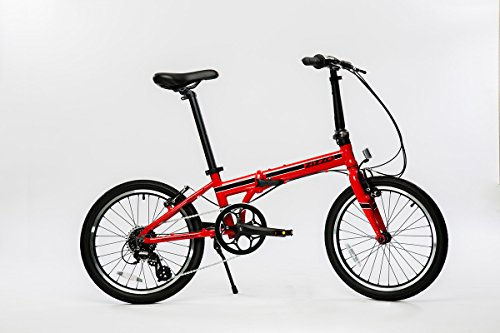 EuroMini Urbano Lightest Aluminum Frame Shimano 8-Speed 24lb Folding Bike, 20-Inch, Red - Mini Folding Bicycle