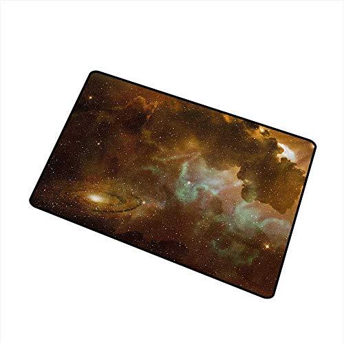 BeckyWCarr Constellation Front Door mat Carpet Dusty Nebula Spiral Galaxy in Billions of Stars Infinity Machine Washable Door mat W29.5 x L39.4 Inch,Pale Coffee Mint Green ()