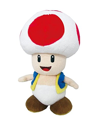 (Little Buddy Super Mario All Star Collection 1417 Toad Stuffed Plush, 7.5