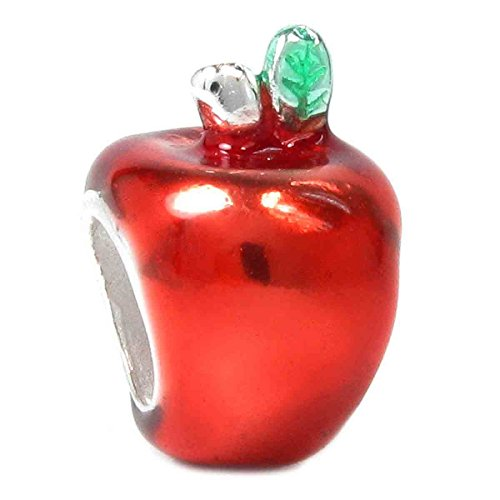 Sterling Silver Apple Charm (.925 Sterling Silver Cute Red Enamel Apple Bead Charm For European Charm Bracelets)