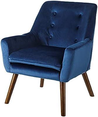 Sillón tapizado de Terciopelo Azul clásico para salón Iris ...
