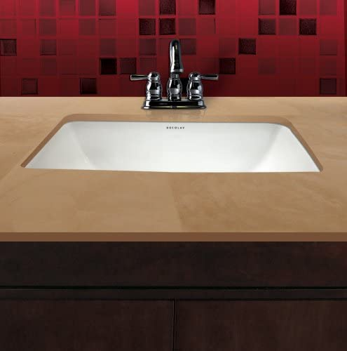 DECOLAV 1402-CBN Callensia Classically Redefined Rectangular Vitreous China Undermount Lavatory Sink with Overflow, Bone