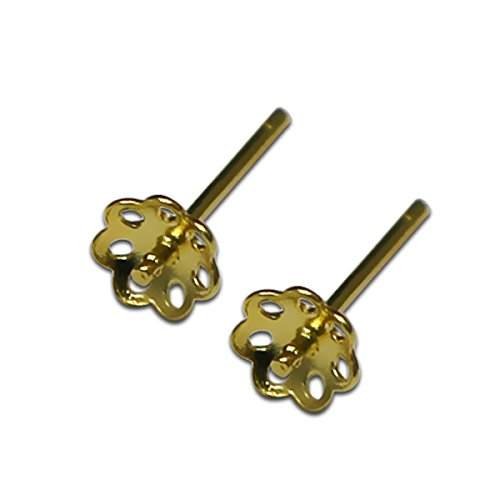 silver earring flower shape base earring tray stud base make sweet gift (14kt gold plated) ()