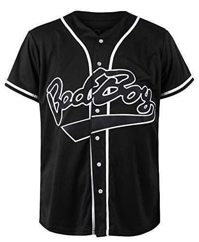 Bad Boy Baseball Jersey, 10 Biggie Clothing for Men, 90s Hip Hop Sports Shirts Black White Red Yellow Stripe Size S-XXXL