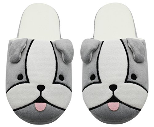 Cc-us Cc-us Women Cute Puppy Pluche Pantoffels Antislip Soft Sole House Slippers Gesloten Teen Indoor Schoenen